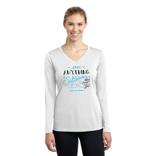 """The Cure for Anything is Saltwater""  Women's Wicking Shirt by ASA"