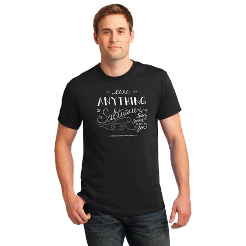 """""""The Cure for Anything is Saltwater"""" Men's Cotton Tee by ASA"""
