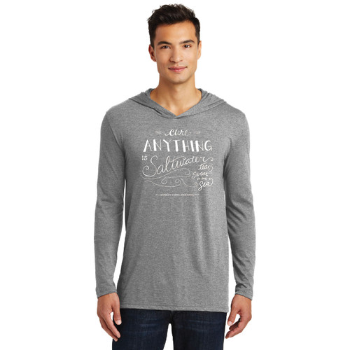 """The Cure for Anything is Saltwater"" Men's Cotton Hoodie by ASA"