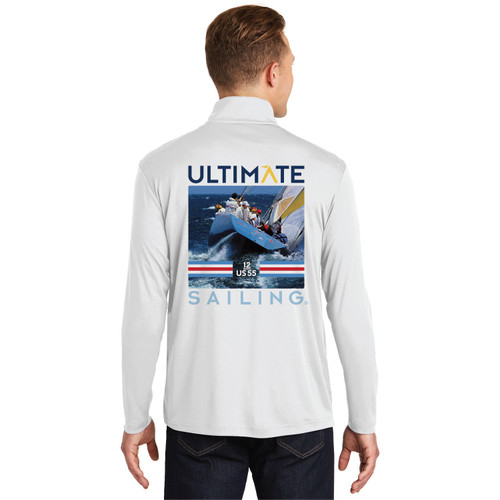 "Ultimate Sailing US-55 Stars & Stripes ""Transom"" Men's 1/4 Zip Wicking Sailing Shirt (Customizable)"