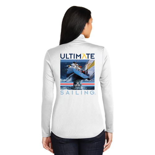 "Ultimate Sailing US-55 Stars & Stripes ""Transom"" Women's 1/4 Zip Wicking Sailing Shirt (Customizable)"