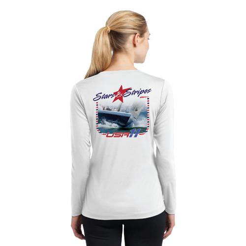 "Stars & Stripes USA-11 ""Bow"" Women's Wicking Shirt (Customizable)"