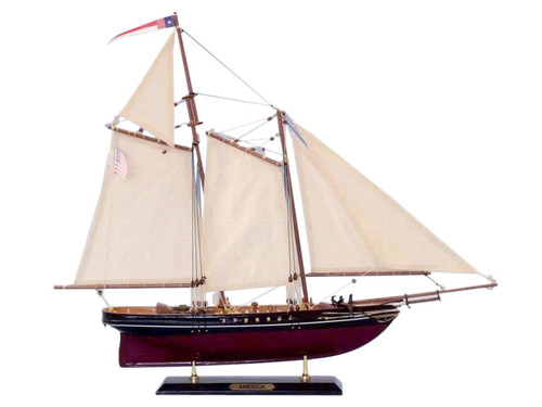 Limited Edition America Handmade Wooden Model Sailboat 1:51 Scale