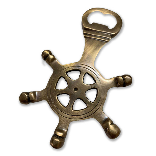 Antique Bronze Ship's Wheel Bottle Opener 5""