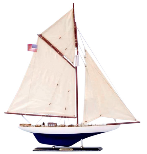 "LIMITED EDITION ""Defender"" Wooden Model Yacht 24"" (1:66 Scale)"