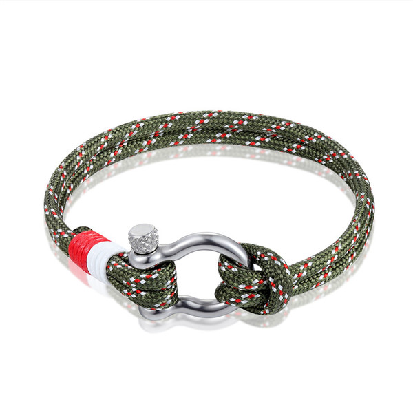 Stainless Shackle Bracelet with Adjustable Cord (Dark Green)