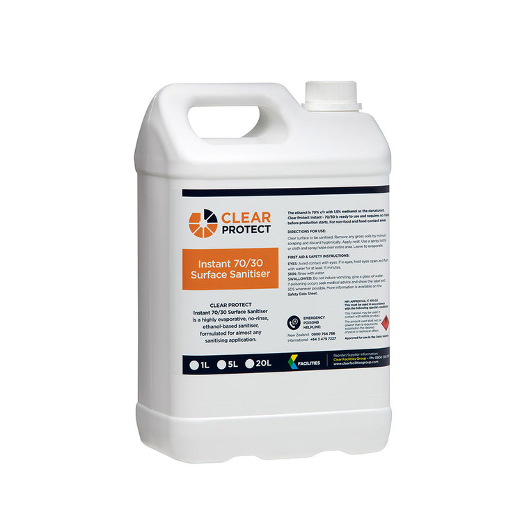Clear Protect Instant 70/30 Hand & Surface Sanitiser 5L