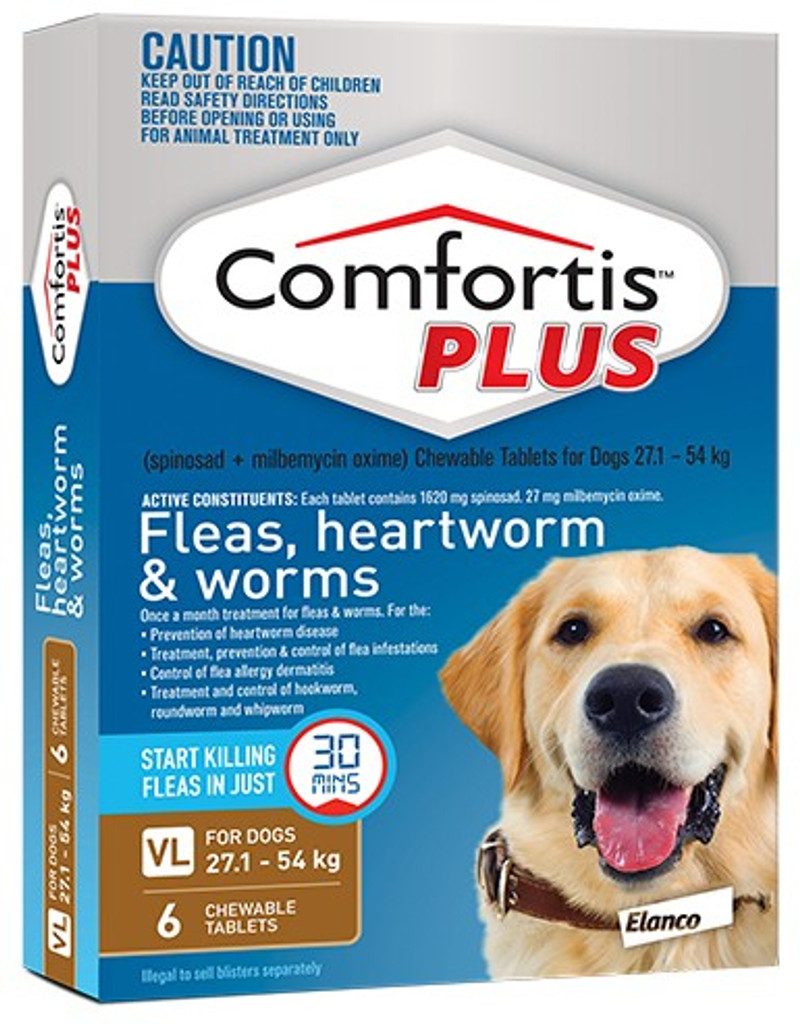 Comfortis PLUS Tablets for Dogs 60.1-120 lbs (27-54 kg) - Brown 6 Tablets