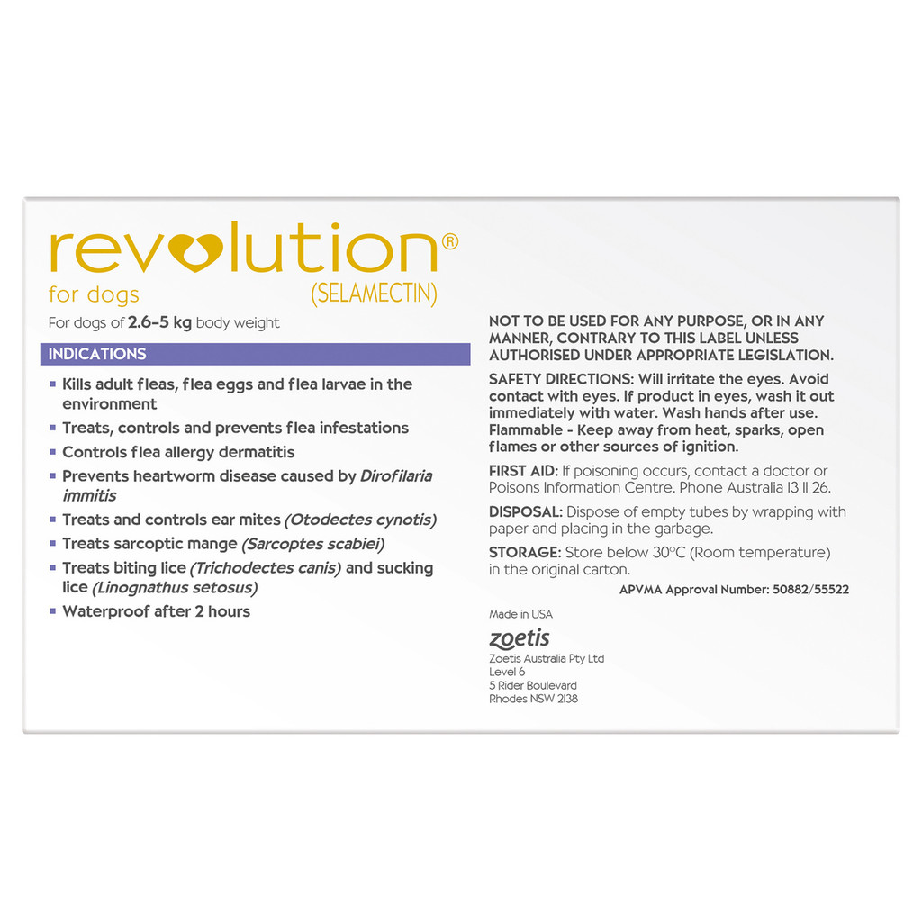 Revolution for Dogs 5.1-10 lbs (2.6-5 kg) - Purple 6 Doses with Bonus Allwormer Tablets and 1 Extra Dose