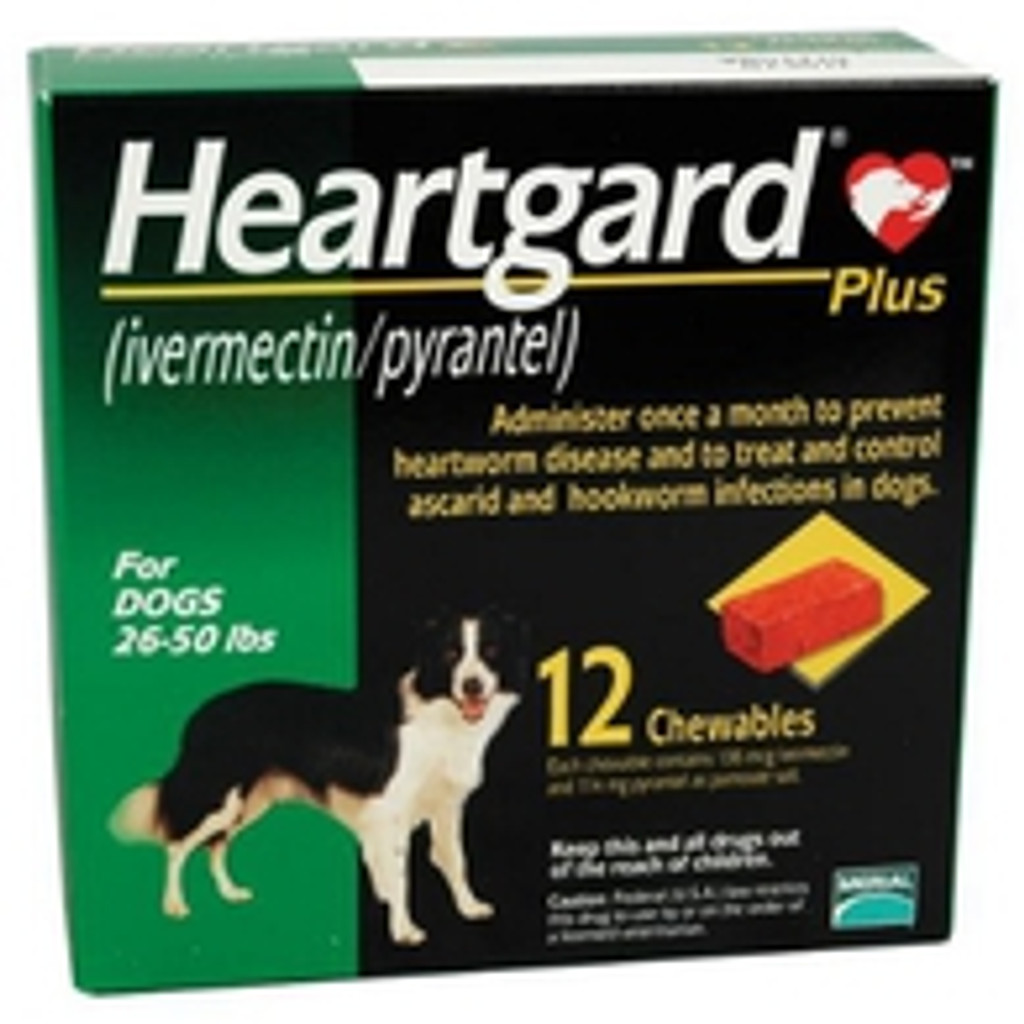 Heartgard Plus Chewables for Dogs 26-50 lbs (12-22 kg) - Green 12 Chews (06/2023 Expiry)