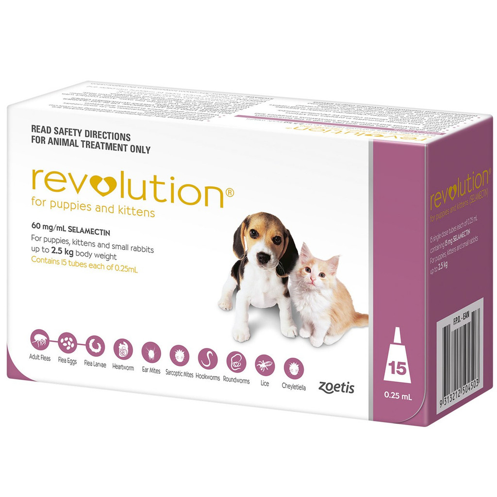 Revolution for Puppies & Kittens up to 5 lbs (up to 2.5 kg) - Mauve 15 Doses