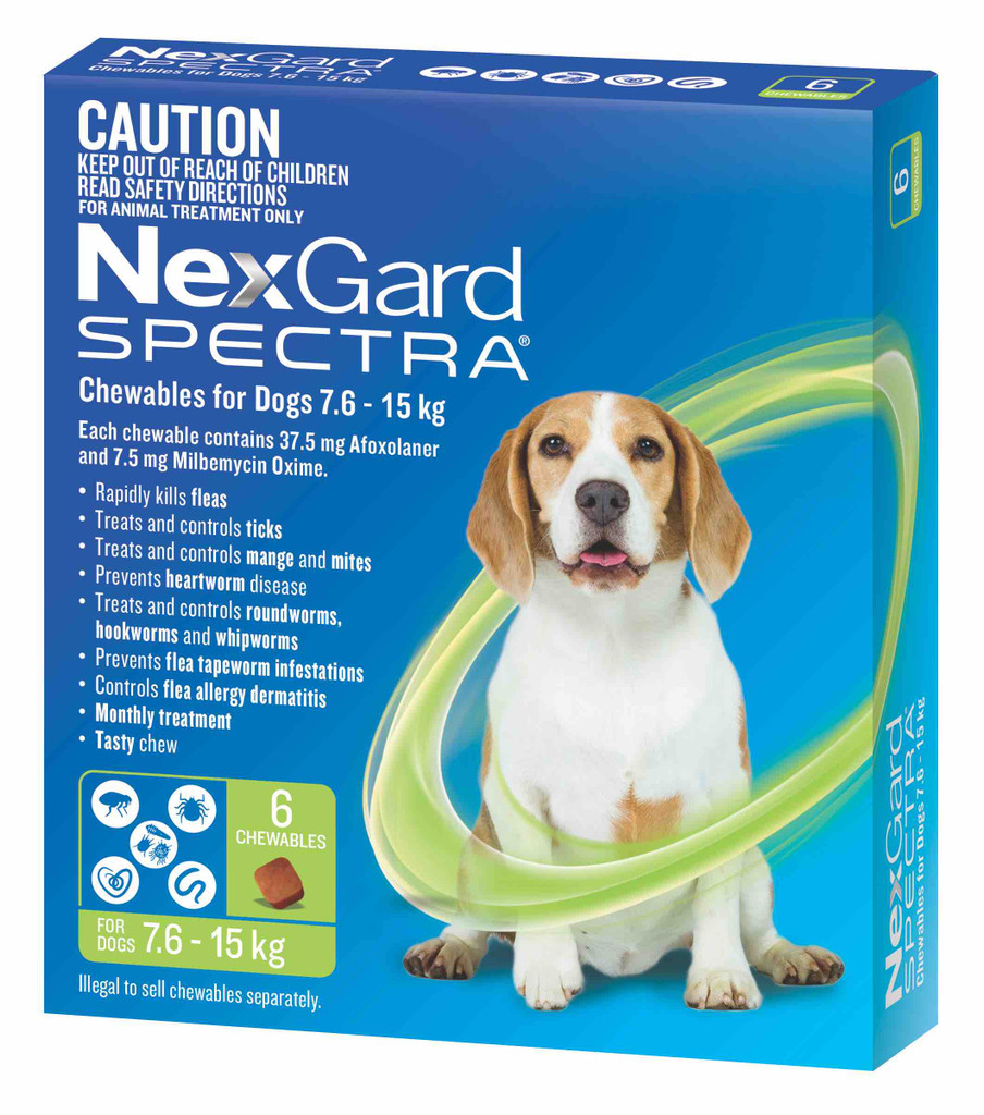 Nexgard Spectra Chews for Dogs 16.1-33 lbs (7.6-15 kg) - Green 6 Chews