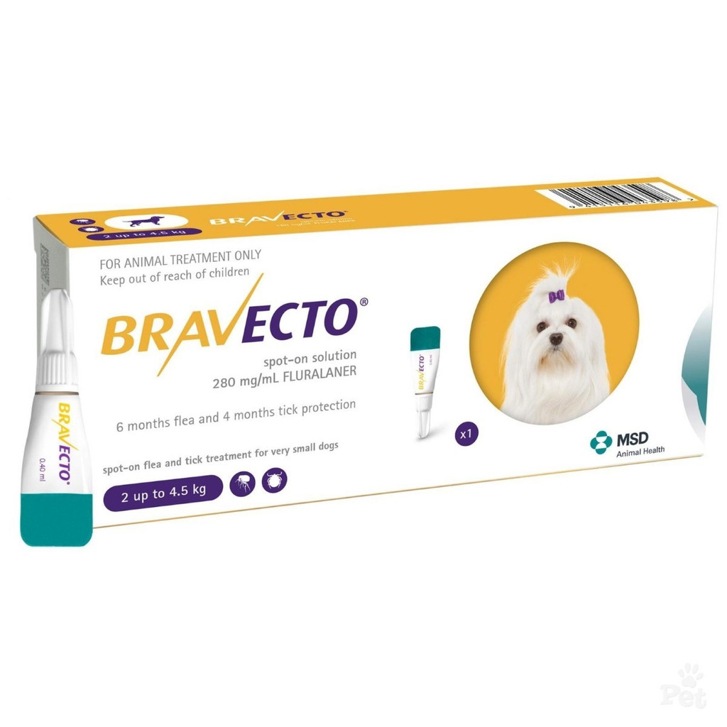 Bravecto Topical Solution for Dogs 4.4-9.9 lbs (2-4.5 kg) - 1 Tube