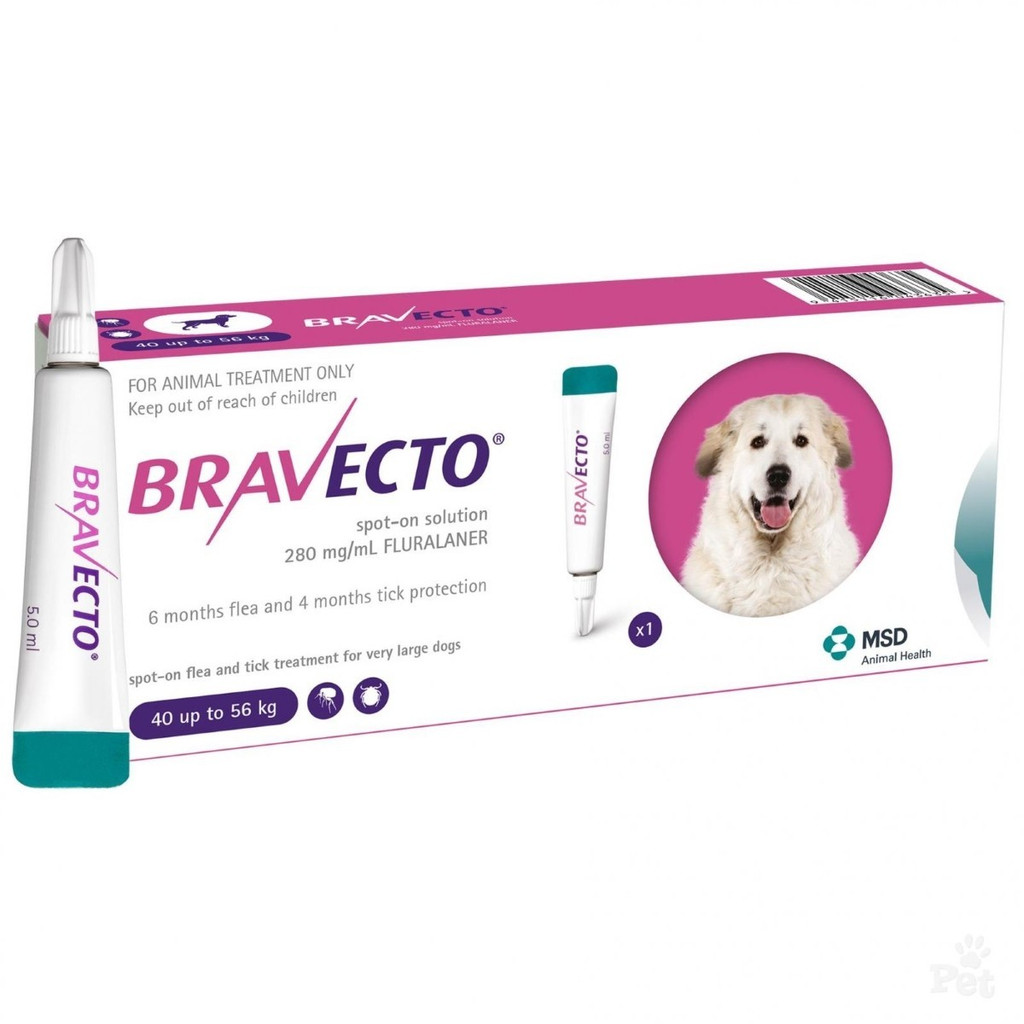 Bravecto Topical Solution for Dogs 88-123 lbs (40-56 kg) - 1 Tube