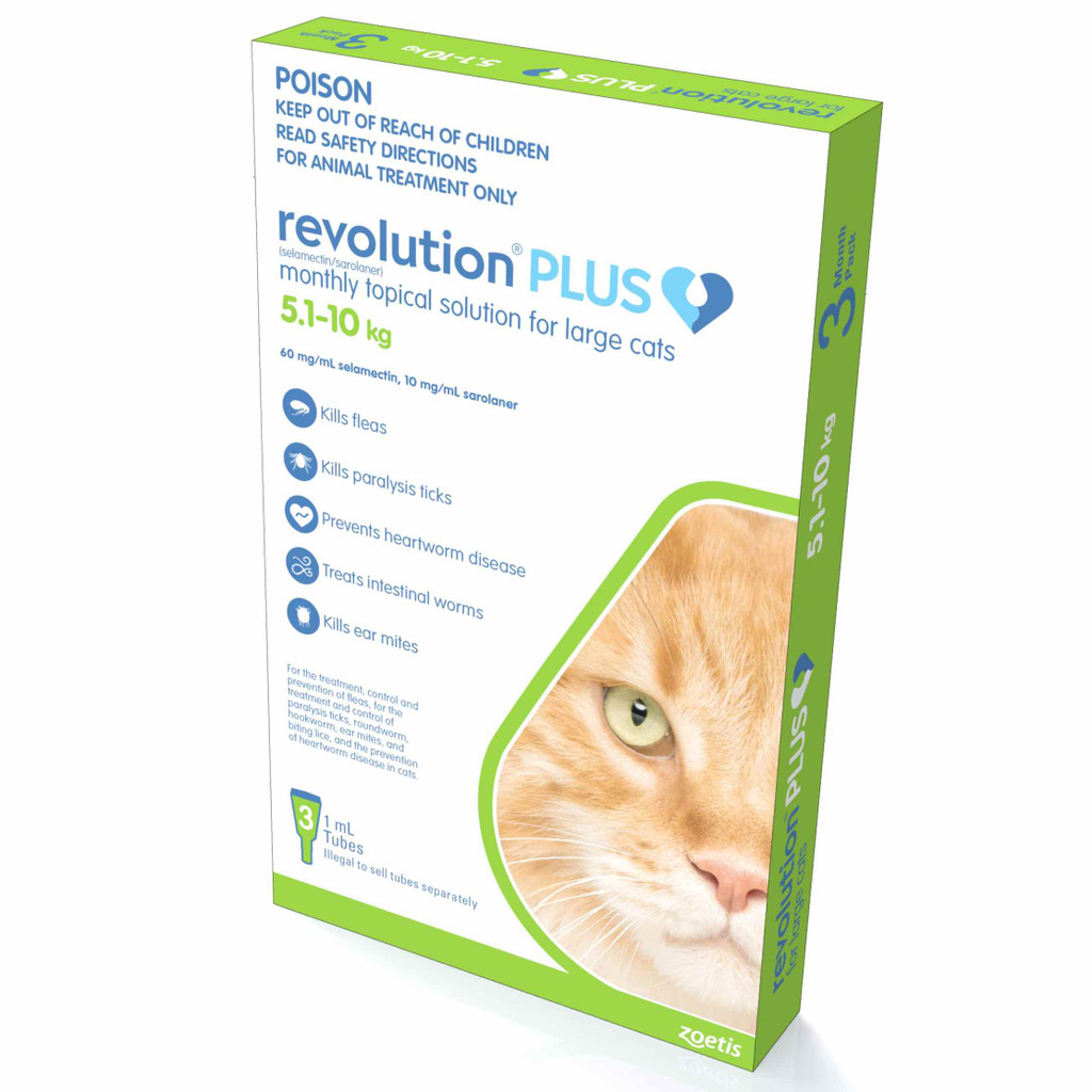 Revolution PLUS for Large Cats 11.1-22 lbs (5-10 kg) - Green 3 Doses