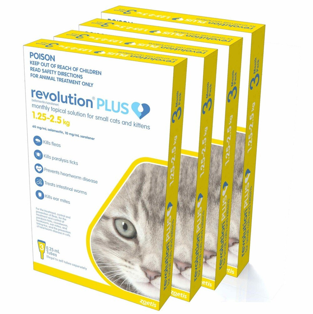 Revolution PLUS for Small Cats and Kittens 2.8-5.5 lbs (1.25-2.5 kg) - Gold 12 Doses (06/2021 Expiry)