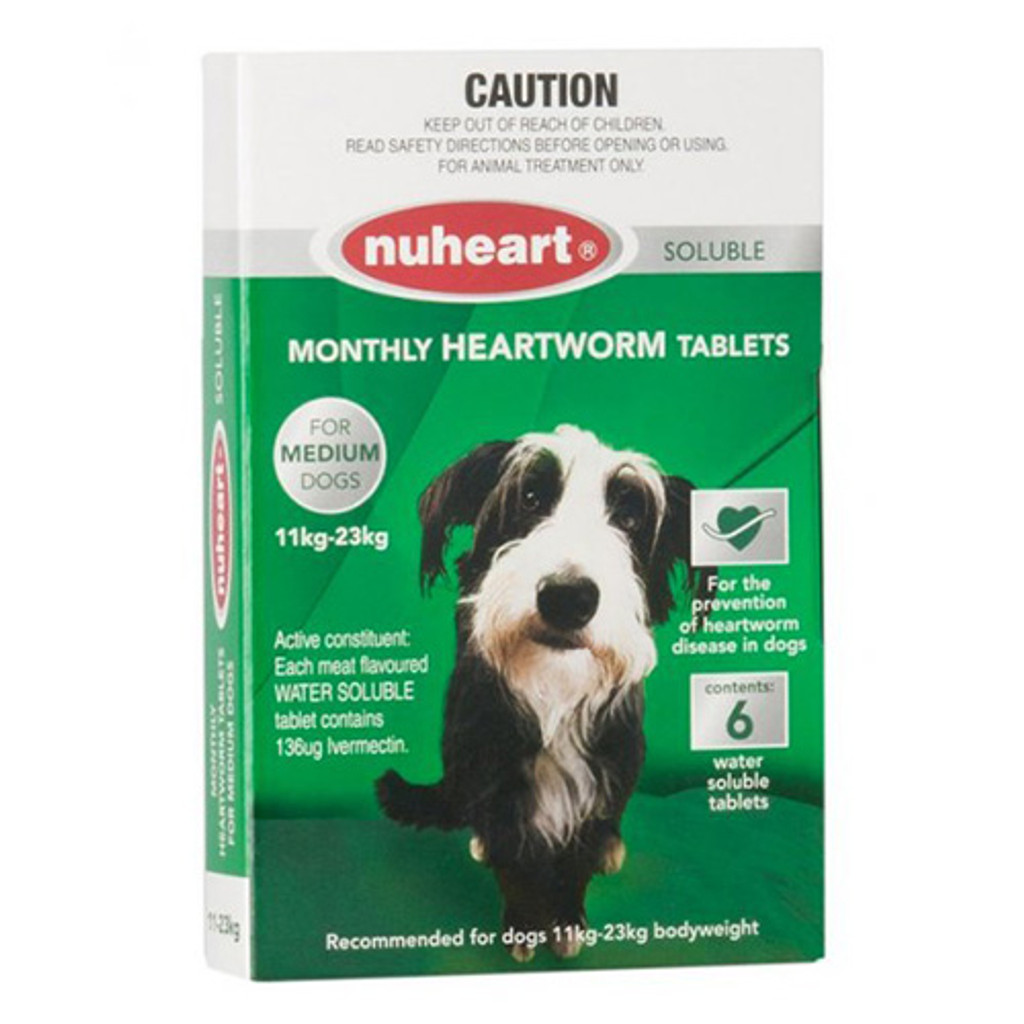 Nuheart Monthly Heartworm Soluble Tablets for Dogs 24.1-50 lbs (11 to 23 kg) - Green 6 Tablets