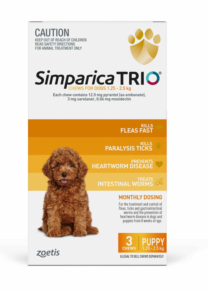 Simparica TRIO Chews for Dogs 2.8-5.5 lbs (1.3-2.5 kg) - Yellow 3 Chews
