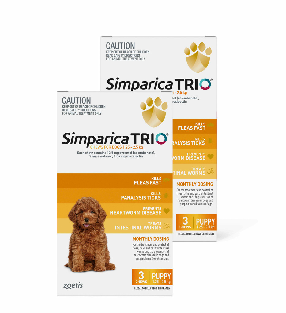 Simparica TRIO Chews for Dogs 2.8-5.5 lbs (1.3-2.5 kg) - Yellow 6 Chews