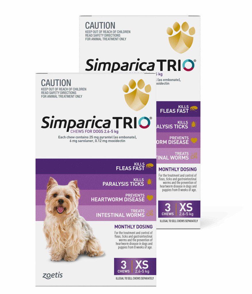 Simparica TRIO Chews for Dogs 5.5-11 lbs (2.6-5 kg) - Purple 6 Chews