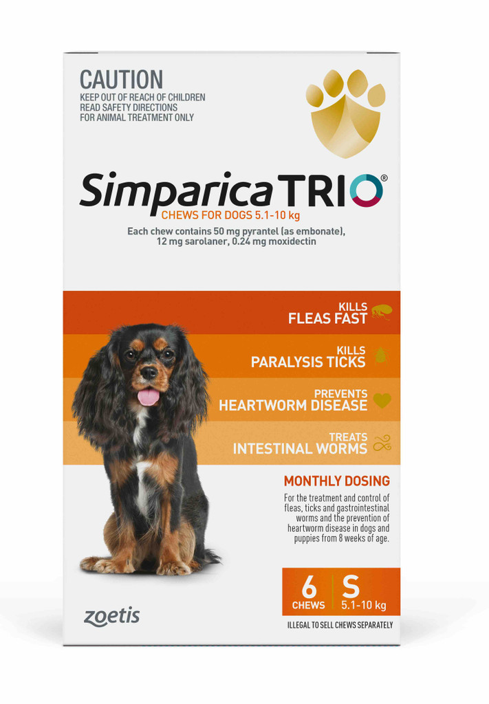 Simparica TRIO Chews for Dogs 11-22 lbs (5.1-10 kg) - Orange 6 Chews