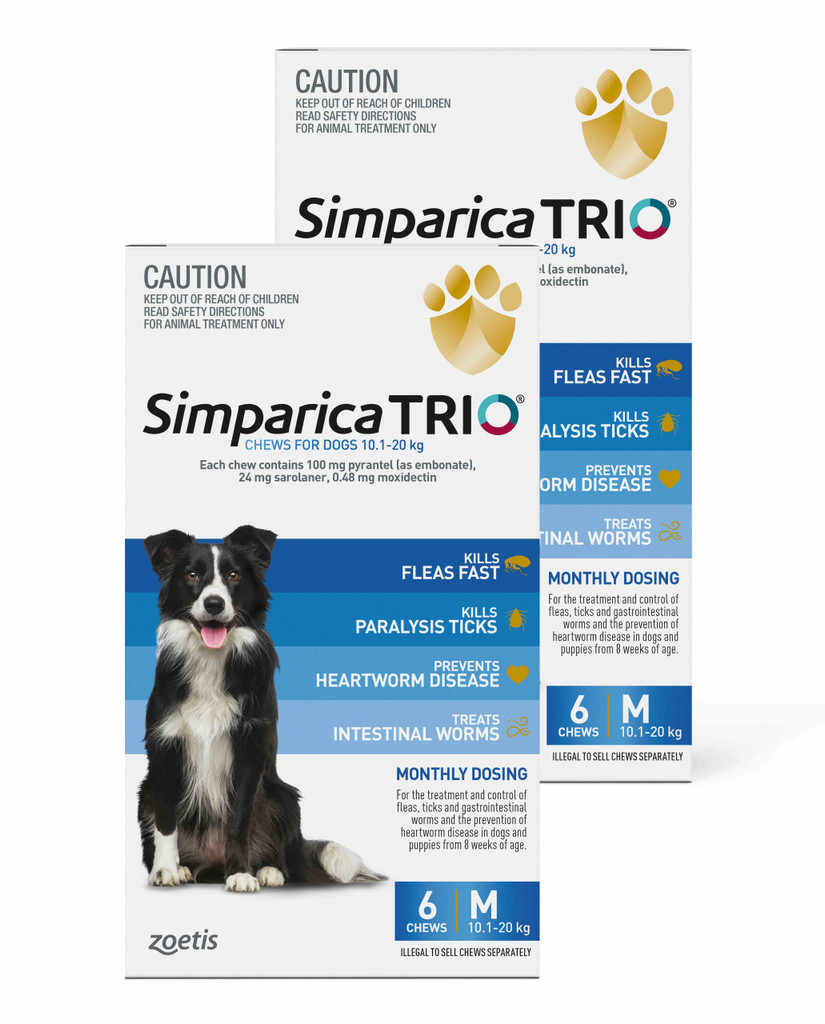 Simparica TRIO Chews for Dogs 22-44 lbs (10.1-20 kg) - Blue 12 Chews