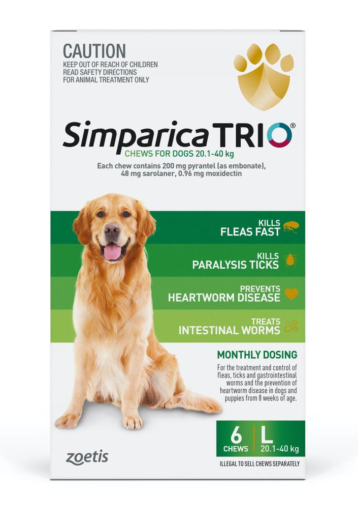 Simparica TRIO Chews for Dogs 44-88 lbs (20.1-40 kg) - Green 6 Chews