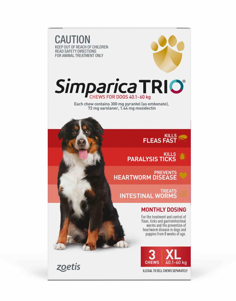 Simparica TRIO Chews for Dogs 88-132 lbs (40.1-60 kg) - Red 3 Chews