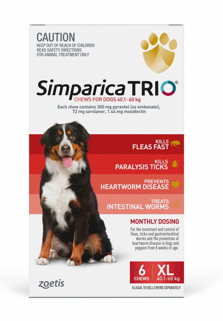 Simparica TRIO Chews for Dogs 88-132 lbs (40.1-60 kg) - Red 6 Chews