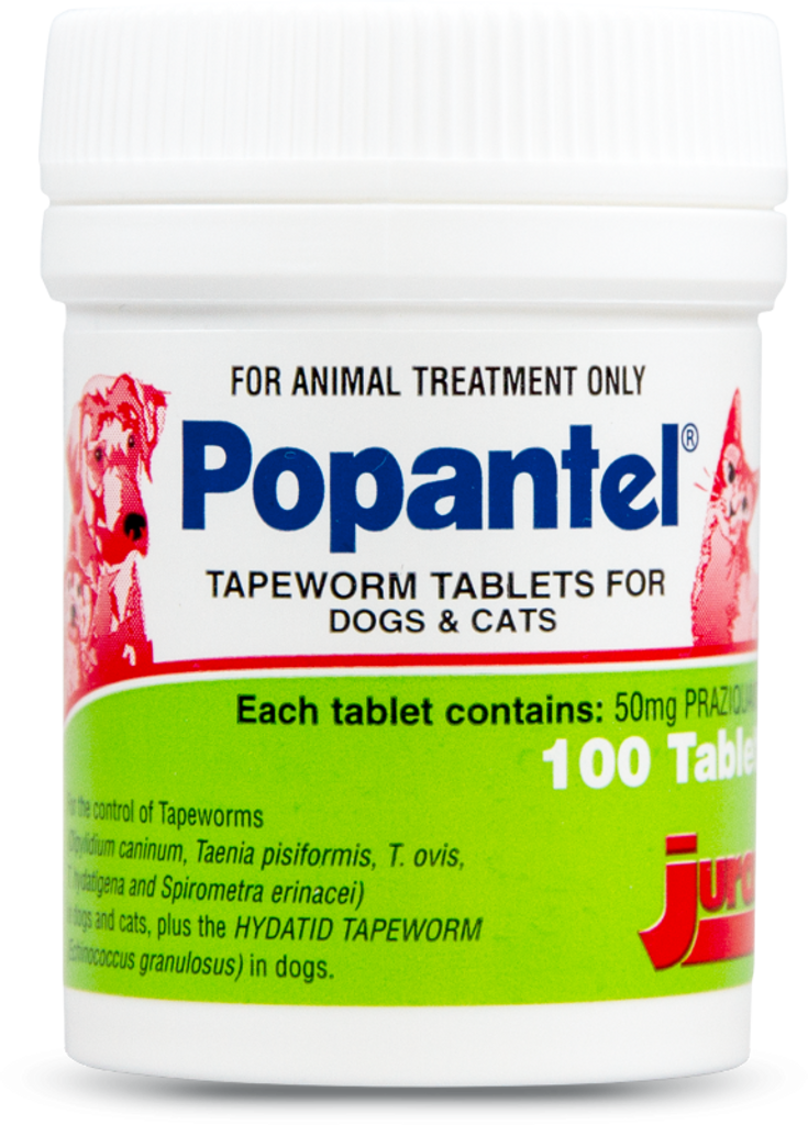 Popantel Tapewormer for Cats and Dogs - 100 Tablets