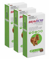 Bravecto Flea and Tick Chew for Dogs 22-44 lbs (10-20 kg) - Green 3 Chews