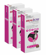 Bravecto Flea and Tick Chew for Dogs 88-123 lbs (40-56 kg) - Pink 3 Chews