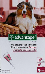 Advantage for Dogs 21-55 lbs (10.1-25 kg) - Red 4 Doses