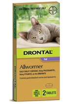 Drontal Allwormer Tablets for Cats up to 8 lbs (up to 4 kg) -  2 Tablets