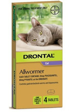 Drontal Allwormer Tablets for Cats up to 8 lbs (up to 4 kg) -  4 Tablets