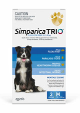 Simparica TRIO Chews for Dogs 22-44 lbs (10.1-20 kg) - Blue 3 Chews