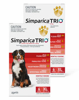 Simparica TRIO Chews for Dogs 88-132 lbs (40.1-60 kg) - Red 12 Chews