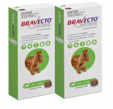 Bravecto Flea and Tick Chew for Dogs 22-44 lbs (10-20 kg) - Green 2 Chews