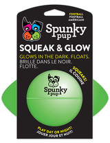 "Spunky Pup Squeak And Glow In The Dark Football Toy For Dogs 14cm (5.5"")"