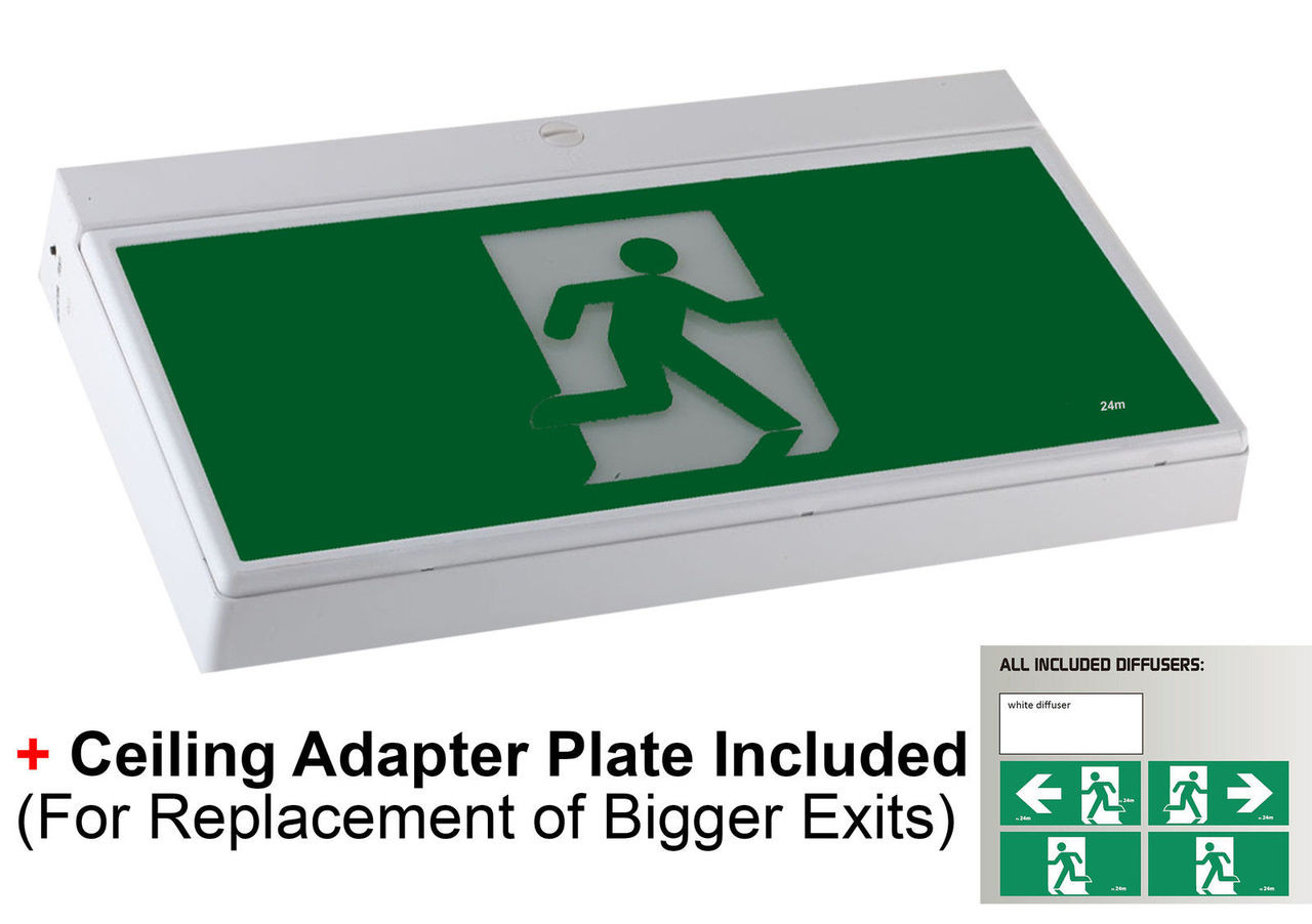 Emergency Exit Sign Light LED Ceiling Wall Mount