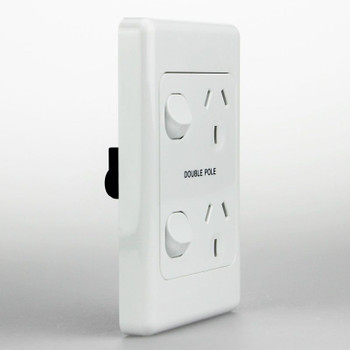 Double Pole 10 amp  double outlet GPO Vertical