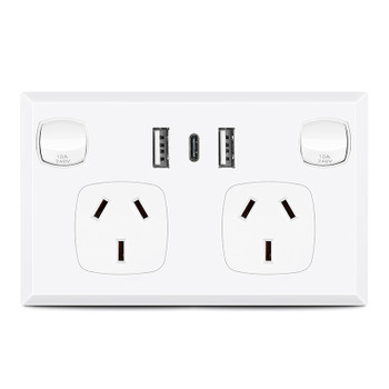 FAST Charge 3.6 amp Double Power Point 2 Dual USB & Type-C GPO