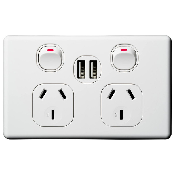 Fast Charge 2*2.4A Total 4.8 Amp Dual USB Double Power Point 10 Amp GPO