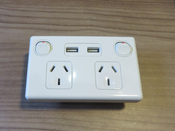 Double USB Power Point Socket Outlet GPO  Fast Charge 3.1 amp
