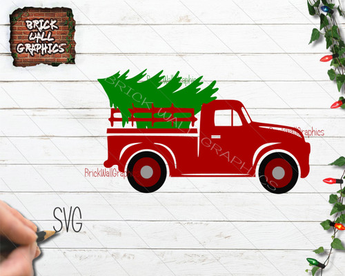 Vintage Christmas Truck with Christmas Tree SVG