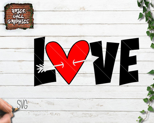 Holiday Svg Files Valentines Day Brick Wall Graphics