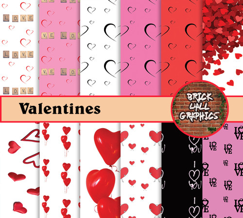 Valentines Day Digital Scrapbooking Paper, Heart Scrapbooking paper, valentine day digital paper, valentines day backgrounds