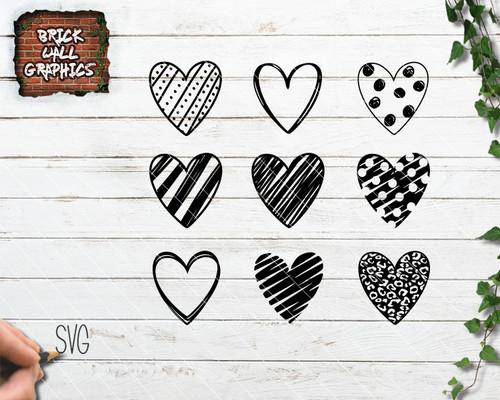 heart svg, valentines day svg, cricut, handdrawn