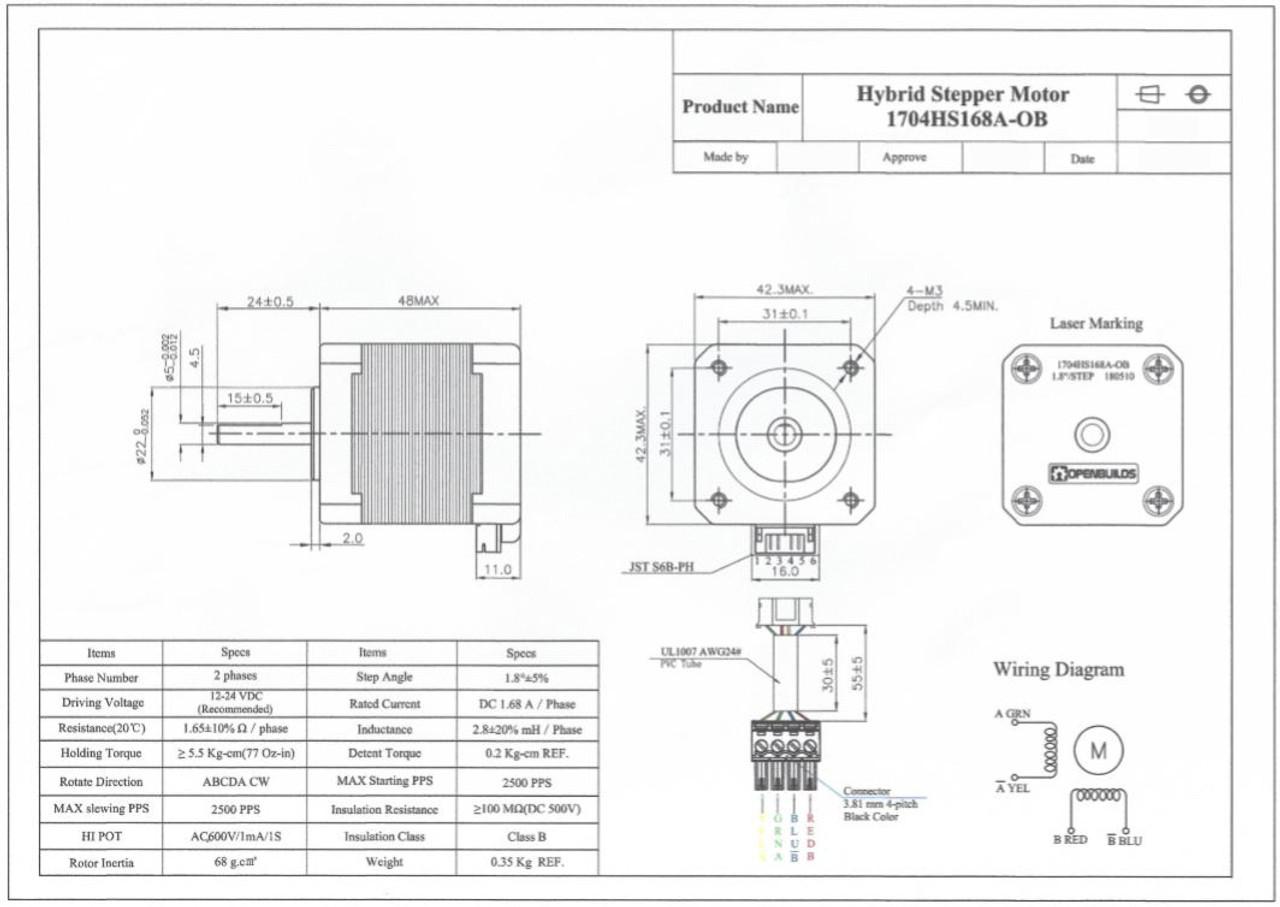 NEMA 17 Stepper Motor - OpenBuilds Part Store Nema Stepper Oz Wiring Diagram on
