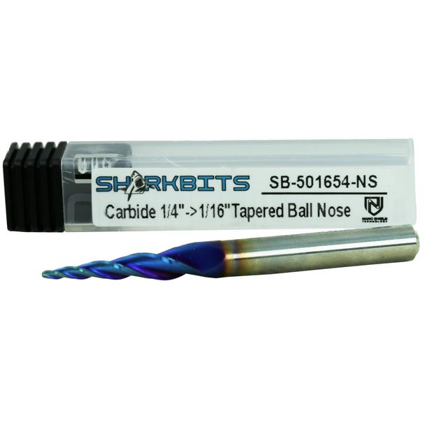 "3 Flutes Solid Carbide Tapered Ball Nose 1/16"" Nano Shield"